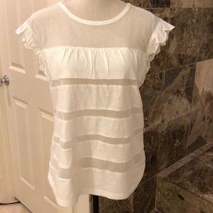 Sundance white cotton T shirt w/ netting